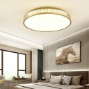 Golden Round Flush Mount Ceiling Light Modernism Integrated Led Flush Light with Clear Crystal