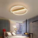 Brushed Gold Circular Ceiling Light Modernism Metal 2-Led Flush Mount Ceiling Light