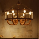 Drum Ceiling Chandelier Pendant Country Iron 6 Lights Candle Ceiling Chandelier for Restaurant