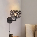 Modern Bowl Wall Mounted Light Metal Crystal 1 Bulb Plug in Sconce Lamp in Black for Coffee Shop