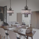 Crystal and Iron Pendant Light Fixtures Industrial Modern 1 Head Hanging Ceiling Light for Dining Room