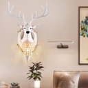 Resin Stag Head Wall Lighting Rustic 1 Light Wall Mount Lamp with Teardrop Lampshade