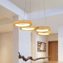 Circle Ring Pendant Light Modern Simple Wood 4/5 LED Chandelier Lamp for Dining Room