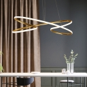 Chrome/Gold Curved Ceiling Pendant Light Minimalist Metal Led Hanging Light