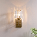 Satin Brass Crystal Wall Sconce Light Mid Century Metal 1 Head Wall Lamp Sconce for Bedside