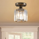 Crystal Cylinder Semi Flush Ceiling Light Modern Iron 1 Head Semi Flush Light in Rust for Indoor