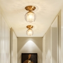 Crystal Beaded Semi Flush Mount Lighting Modern Metal 1 Head Semi Flush Mount with Clear Glass Shade for Foyer