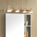 4 Light Linear Wall Mounted Light Retro Metal and Acrylic Sconce Fixture in Gold for Vanity