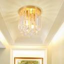 2 Lights Brass Semi Flush Modern Crystal Unique Semi Flush Mount Lighting for Corridor