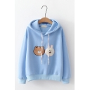 Cute Cartoon Bear And Rabbit Embroidered Long Sleeve Casual Hoodie for Juniors