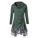 New Fashion Lace Inserted Cowl Neck Long Sleeve Asymmetric Hem Mini Dress