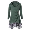 New Fashion Lace Inserted Cowl Neck Long Sleeve Asymmetric Hem Mini Dress