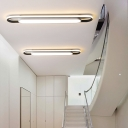 Modernism Linear Flush Mount Lighting Metal Integrated Led Ceiling Light Fixture in White