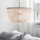 Crystal Beaded Pendant Lamp French Style 3 Lights Chandelier with Metal Chain