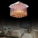 Chrome Finish Squared Ceiling Lights Contemporary Crystal Ball Sparkle Ceiling Light Fxitures for Bedroom
