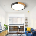 Warm/White Wooden Round Ceiling Lights Nordic Style Iron 1 Light Ceiling Mount Flush in Pink/Yellow/Green