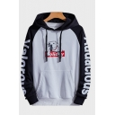 Lovely Cartoon Dog Printed Colorblock Raglan Sleeve Casual Drawstring Hoodie