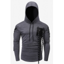 Mens New Stylish Ribbon Pocket Embellished Crisscross Side Long Sleeve Casual Slim Fit Hoodie