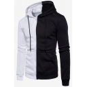 Guys Popular Fashion Color Block Long Sleeve Casual Zip Up Drawstring Hoodie
