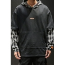 Mens Fashion Letter Printed Plaid Patched Long Sleeve Black Fake Two-Piece Casual Hoodie
