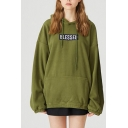 Popular Fashion BLESSED Letter Embroidered Long Sleeve Casual Loose Unisex Hoodie