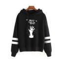 New Popular Letter Hand Printed Striped Long Sleeve Leisure Hoodie