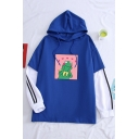 Cute Cartoon Dinosaur Pattern Color Block Patchwork Striped Long Sleeves Hoodie