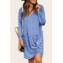 Womens Hot Fashion V-Neck Long Sleeve Twist Detail Plain Loose Asymmetrical Shift Midi Dress
