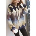 Womens Fashion Diamond Print Hoodie Drop Sleeve Shaggy Sweater