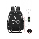 Fashion Harry Potter Glasses Printed Creative USB Charge Students School Bag Backpack 30*15*44cm