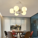 Flower/Global Shade Living Room Semi Flush Glass 5 Lights Modern Ceiling Light in White