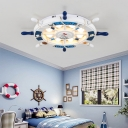 8 Bulbs Rudder Flush Lighting Nautical Style Wood Ceiling Flush Mount for Boys Bedroom