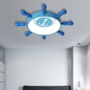 Metal Rudder Ceiling Light with Anchor Pattern 32W Integrated Led Ceiling Flush Mount Light in Blue