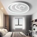 Acrylic Moon and Star Flush Mount Modern 48W Integrated Led Flush Ceiling Light