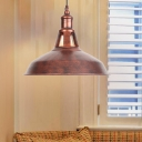 Rust Barn Pendant Light Single Light Metallic Hanging Lamp with Adjustable Cord for Shop