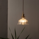 Wavy Pendant Ceiling Light Industrial Modern Ribbed Glass 1 Light Hanging Lights for Study