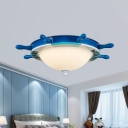Frosted Glass Bowl Flush Lighting with Rudder Design Nautical Kids Ceiling Flush Light
