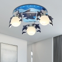 Wood Dolphin Ceiling Light Cartoon 3 Heads Semi Flush Light with Opal Glass Shade