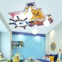 Cartoon Pirate Ship Ceiling Flush Light with Rudder 3 Lights Wood Flush Mount Light