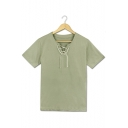 Fashion Comic Cosplay Costume Plain Light Green Lace-Up V-Neck Short Sleeve Tee
