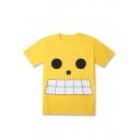 One Piece Comic Cartoon Face Printed Yellow Short Sleeve T-Shirt