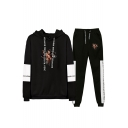 Popular Figure Printed Colorblock Long Sleeve Hoodie with Joggers Pants Two-Piece Set