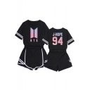 Fashion Kpop Boy Band Logo Printed Short Sleeve Tee with Loose Shorts Two-Piece Set