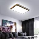 Acrylic Rectangular Ceiling Lighting Nordic Style LED Flush Mount in Black/White
