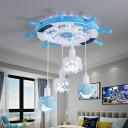 Nautical Light Fixtures Resin and Wood 4 Lights Multi Pendant Light with Coral and Shell Decoration