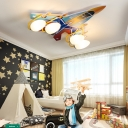Multi Color Aircraft Flushmount Ceiling Fixture Glass and Metal 4 Heads Kids Room Lighting