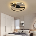 Black Square/Circle with V Semi-Flush Mount Modern Acrylic Ceiling Light for Bedroom