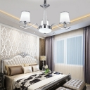 Modernism Tapered Chandelier Light Milky Glass Chrome Pendant Light with Metal Chain