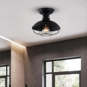 Matte Black Round Grill Ceiling Lights Farmhouse Style Iron 1 Head Semi Flush Mount Light for Dining Table