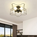 5-Light Star Ceiling Light Fixtures Modern Metal Semi Flush Chandelier for Living Room